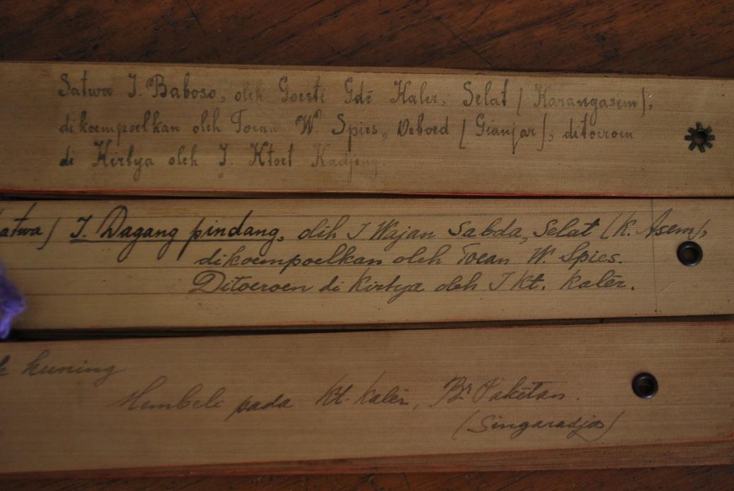 Lontar berisi cerita rakyat dikumpulkan oleh Walter Spies